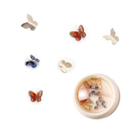 3D Butterfly and Metal Nail Art - Gold Blue and Orange