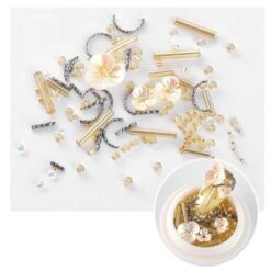 3D Gold Resin Flowers and Metal Nail Art