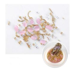 3D Light Pink Resin Stone and Gold Nail Art