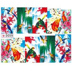 Nail Art Water Decal with Colourful Birds