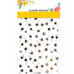 2D Water Transfer Nail Art Decal F246 with Gold Dandelion
