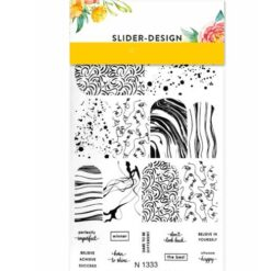 2D Water Transfer Nail Art Decal N1333 with Abstract Lines, faces and Words