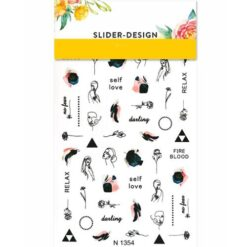 2D Water Transfer Nail Art Decal N1354 with Abstract Faces and Words