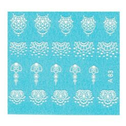 3D Water Transfer Nail Art Decal A83 White Lace Designs